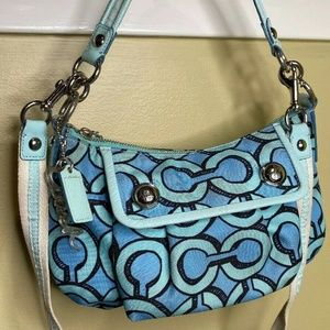 Coach 14982 Poppy Teal Blue Black Shoulder Bag